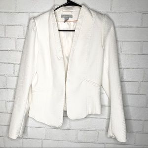 H&M White Long Sleeve Classy Textured Blazer